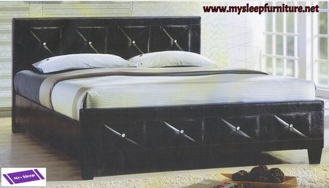 TWIN (SINGLE) SIZE- (177)- BLACK COLOR- PU LEATHER- BED FRAME- WITH CRYSTAL HEADBOARD AND FOOTBOARD