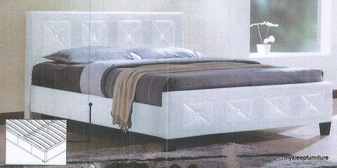 178 WHITE COLOR PU LEATHER BED FRAME WITH CRYSTAL HEADBOARD AND FOOTBOARD- TWIN, DOUBLE, QUEEN SIZES