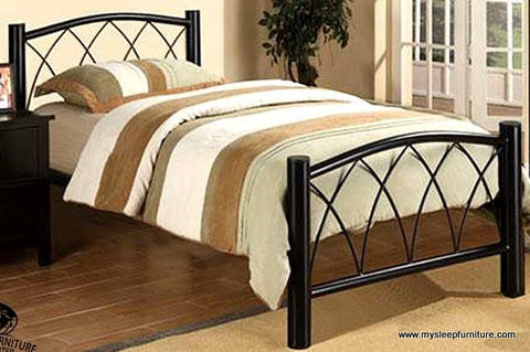 TWIN (SINGLE) SIZE- 182- BLACK- METAL BED FRAME- WITH PLATFORM