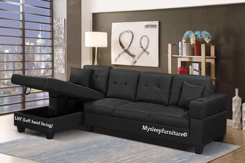 (1839 BLACK LHF)- FABRIC- SECTIONAL SOFA- WITH STORAGE