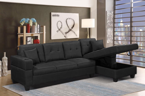 (1839 BLACK RHF)- FABRIC- SECTIONAL SOFA- WITH STORAGE