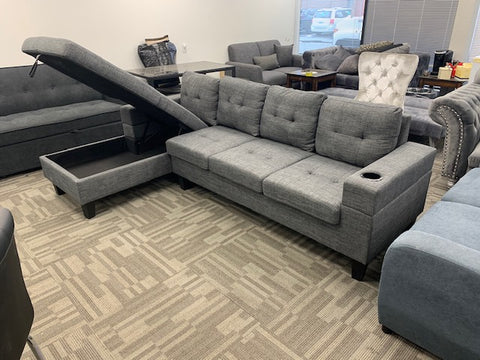 (1839 GREY LHF)- FABRIC- SECTIONAL SOFA- WITH STORAGE
