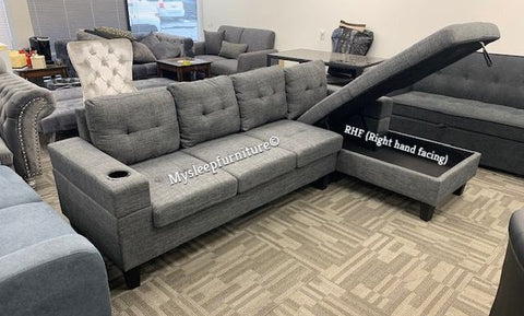 (1839 GREY RHF)- FABRIC- SECTIONAL SOFA- WITH STORAGE