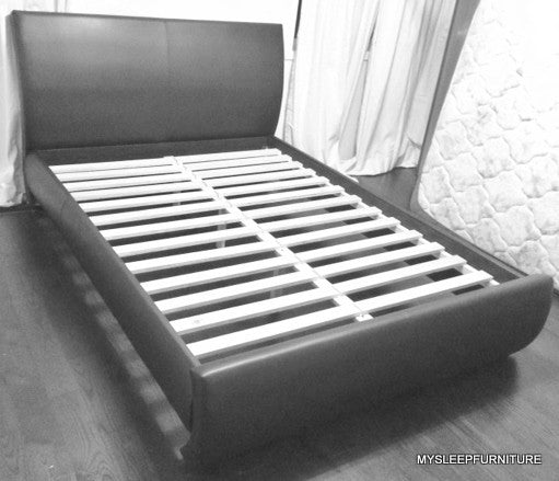King Size R183 Bonded Leather Bed Frame With Slats