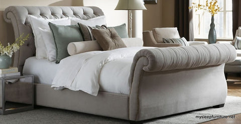 187- FABRIC- SLEIGH BED- WITH BUTTONS AND SLATS- DOUBLE, QUEEN,