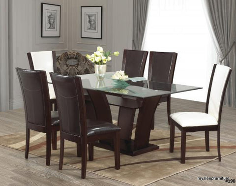(190 BROWN- 7 PC.)- GLASS- DINING TABLE- WITH 6 CHAIRS