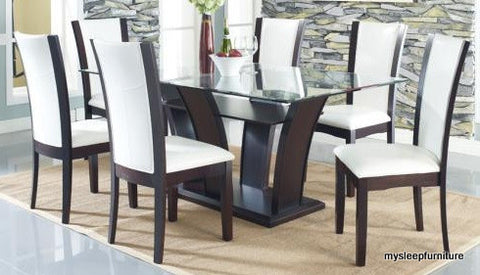 (190 WHITE- 7 PC.)- GLASS- DINING TABLE- WITH 6 WHITE CHAIRS