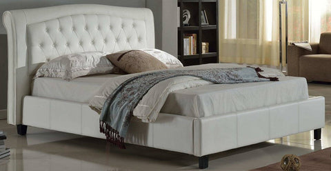QUEEN SIZE- (192 WHITE)- PU LEATHER- BED FRAME- WITH SLATS