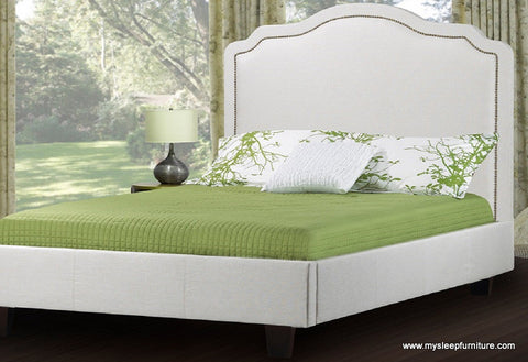 193- FABRIC- BED FRAME- WITH NAILHEADS AND SLATS- DOUBLE, QUEEN, KING SIZES- 4 COLORS