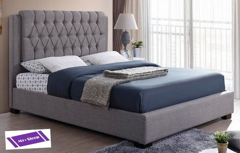 KING SIZE- (196 GREY)- FABRIC- BED FRAME- WITH SLATS
