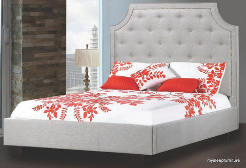 QUEEN SIZE- (198R LIGHT GREY)- FABRIC- CANADIAN MADE- BED FRAME- WITH SLATS- (DELIVERY AFTER 2 MONTHS)