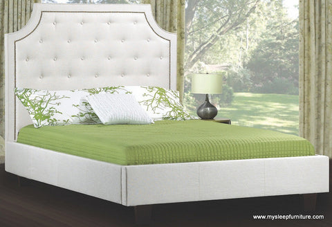 198- FABRIC- BED FRAME- WITH BUTTONS- AND WOOD SLATS- DOUBLE, QUEEN, KING SIZES- 4 COLORS (BEIGE, OFF- WHITE, GREY, CHARCOAL)