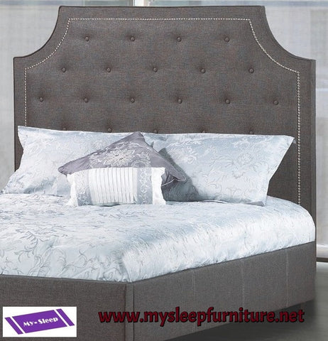 DOUBLE (FULL) SIZE- (R198 CHARCOAL)- FABRIC- CANADIAN MADE- HEADBOARD- (DELIVERY AFTER 2 MONTHS)