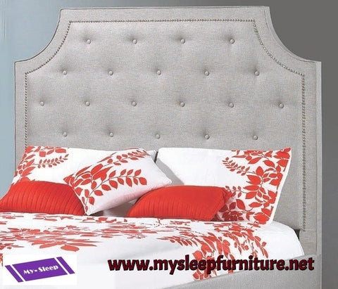 QUEEN SIZE- (R198 LIGHT GREY)- FABRIC- CANADIAN MADE- HEADBOARD- (DELIVERY AFTER 2 MONTHS)