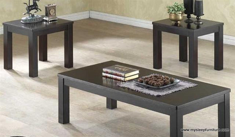 (5011 BLACK)- WOOD- COFFEE TABLE- WITH 2 SIDE TABLES