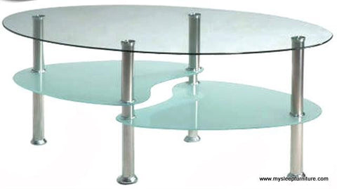 2005- OVAL- CLEAR GLASS TOP- COFFEE TABLE- WITH SHELVES