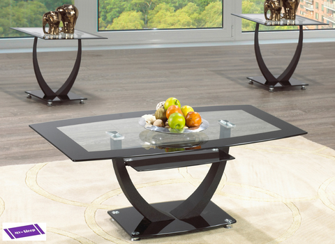 (2007- 3)- GLASS- COFFEE TABLE- WITH 2 SIDE TABLES