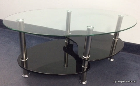2009- BLACK- OVAL GLASS- COFFEE TABLE- WITH SHELVES