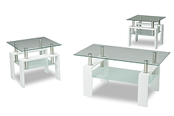 (2013 WHITE)- GLASS- COFFEE TABLE- WITH 2 SIDE TABLES