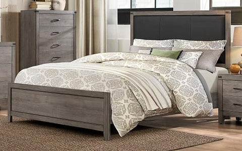 TWIN (SINGLE) SIZE- (2042 GREY- 1)- WOOD- BED FRAME- (BOX SPRING REQUIRED)