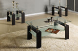 (2048 ESPRESSO)- GLASS- COFFEE TABLE- WITH 2 SIDE TABLES