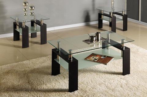 (2048 ESPRESSO BROWN)- GLASS- COFFEE TABLE- WITH 2 SIDE TABLES