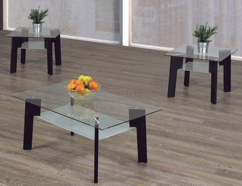2082- ESPRESSO BROWN COLOR- GLASS TOP- COFFEE TABLE- WITH 2 SIDE TABLES