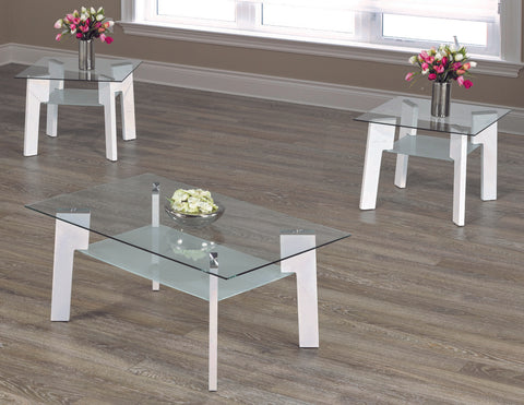 2083- WHITE COLOR- GLASS TOP- COFFEE TABLE- WITH 2 SIDE TABLES