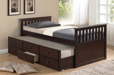 TWIN (SINGLE) SIZE- (2100 ESPRESSO)- WOOD- CAPTAIN BED- WITH TRUNDLE AND DRAWERS