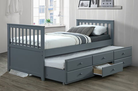 TWIN (SINGLE) SIZE- (2100 GREY)- WOOD- CAPTAIN BED- WITH TRUNDLE AND DRAWERS