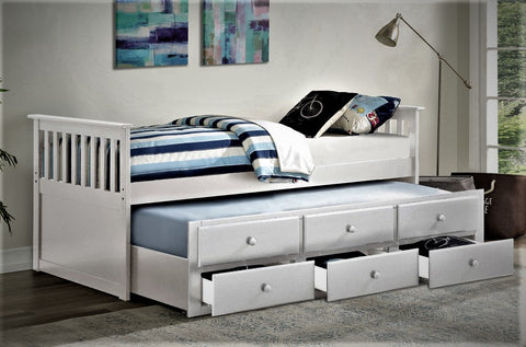 TWIN (SINGLE) SIZE- (2100 WHITE)- WOOD- CAPTAIN BED- WITH TRUNDLE AND DRAWERS