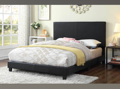 DOUBLE (FULL) SIZE- (2110 BLACK)- PU LEATHER- BED FRAME- (BOX SPRING REQUIRED)