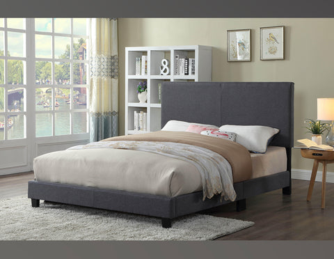 QUEEN SIZE- (2110 GREY)- FABRIC- BED FRAME- (BOX SPRING REQUIRED)