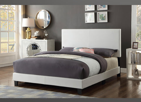 QUEEN SIZE- (2110 WHITE)- PU LEATHER- BED FRAME- (BOX SPRING REQUIRED)