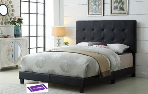 QUEEN SIZE- 2113- BLACK COLOR- PU LEATHER- BED FRAME- WITH BUTTONS (BOX REQUIRED)