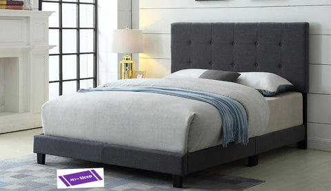 QUEEN SIZE- 2113- GREY COLOR- FABRIC- BED FRAME- WITH BUTTONS (BOX REQUIRED)