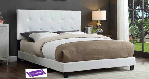 QUEEN SIZE- 2113- WHITE COLOR- PU LEATHER- BED FRAME- WITH BUTTONS (BOX REQUIRED)