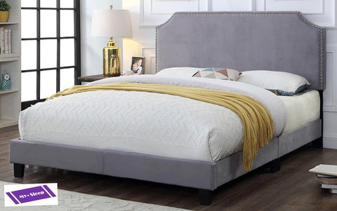 QUEEN SIZE- 2116- LIGHT GREY COLOR- VELVET FABRIC- BED FRAME (BOX REQUIRED)