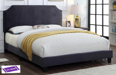 TWIN (SINGLE) SIZE- 2116- CHARCOAL COLOR- VELVET FABRIC- BED FRAME (BOX REQUIRED)