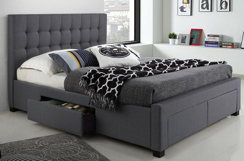 DOUBLE SIZE- (2152 GREY)- FABRIC- BED FRAME- WITH DRAWERS