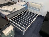 TWIN (SINGLE) SIZE- (2201 WHITE)- METAL- BED FRAME- WITH SLATTED PLATFORM