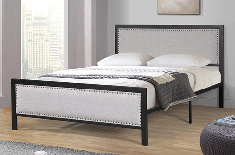 QUEEN SIZE- (2206 LIGHT GREY)- METAL- BED FRAME- WITH SLATTED PLATFORM- will be available after august 4, 2020
