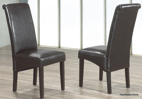 220 ROLLBACK ESPRESSO COLOR PU LEATHER DINING CHAIR- 2 PACK