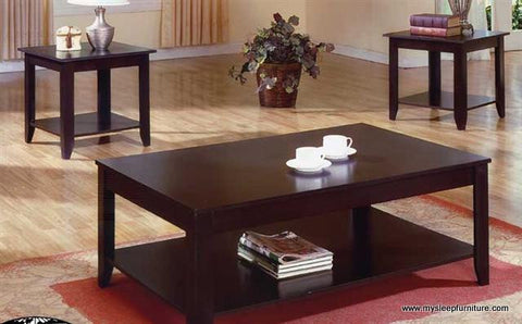 2218- ESPRESSO COLOR- WOOD- COFFEE TABLE- WITH 2 SIDE TABLES