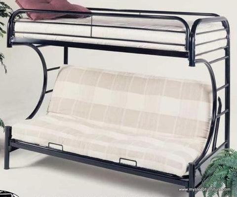 TWIN/ DOUBLE- 2800- BLACK COLOR- C- SHAPE FUTON- METAL- BUNK BED