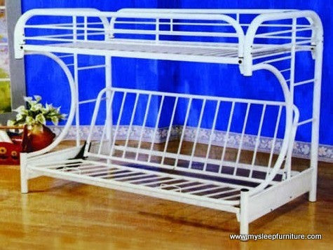 TWIN/ DOUBLE- (2800 WHITE)- C SHAPE FUTON- METAL- BUNK BED
