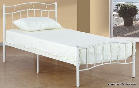 TWIN (SINGLE) SIZE- (2300 WHITE)- METAL- BED FRAME- WITH SLATTED PLATFORM