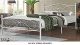 TWIN (SINGLE) SIZE- (2315 WHITE)- METAL- BED FRAME- WITH SLATTED PLATFORM