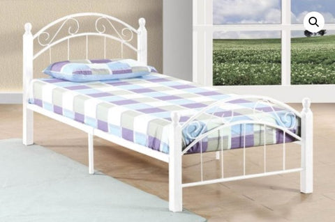 TWIN (SINGLE) SIZE- (2320 WHITE)- METAL- BED FRAME- WITH SLATTED PLATFORM