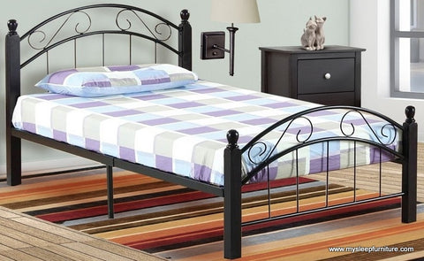 2320- BLACK COLOR- METAL- BED FRAME- WITH ESPRESSO WOOD POSTS- TWIN, DOUBLE SIZES